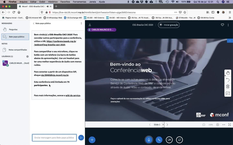 00 - Abrir uma Sala Virtual do Conferência Web da RNP